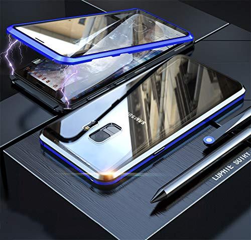Yidai-Silu Galaxy S9 Rundumschutz Case, 【Vorn + Hinten 9H Glas, Stark Magnetisch】 Alu Bumper Durchsichtig Schale Handy Hülle Stoßfest Cover für Samsung Galaxy S9 5,8 Zoll - Schwarz&Blau