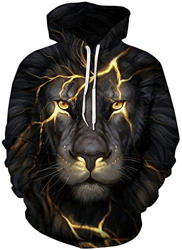 TDOLAH Herren Slim Fit Kapuzenpullover 3D Druck Sweatshirt Pullover (Größe S / M, A-Flash Löwe)