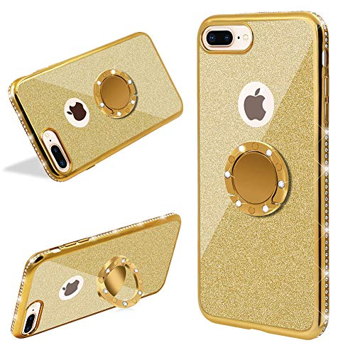 LCHDA Für Handyhülle iPhone 7 Plus/iPhone 8 Plus Glitter mit Ring Halter Kickstand,Gold Bling Bling Funkeln Diamant Strass Bumper Transparent Hardcase Stoßfest Schutzhülle Hülle Für Mädchen - Digital Hands Free Cell Phone