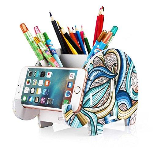 Soporte de teléfono celular, COOLBROS Porta-lápiz de elefante de madera con teléfono Organizador de escritorio de titular (Elefante indio, L)