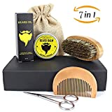 Beard Brush Comb Set, niceEshop(TM) 7 pcs Men Beard Grooming Trimming Kit with Wooden Comb, Beard Brush, Unscented Beard Oil, Bear Balm, Barber Scissor and Cotton Bag for Facial Hair Care and Mustache