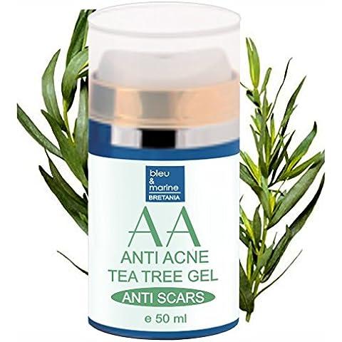 Gel Hidratante Anti Acné con Arbol de Té y Aloe Vera 50 ml - Unisex- Piel Grasa Neutraliza la formación de los granos