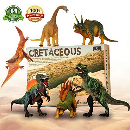 Dinosaurier-Spielzeug, Bewegliche Teile 6 Realistische Dinosaurier-Figuren Bis 11\'\'(28cm) Großes Set, Ungiftig Geschmacklos Dinosaurier-Spielzeug Assorted Vinyl Kunststoff-Dinosaurier für Kinder