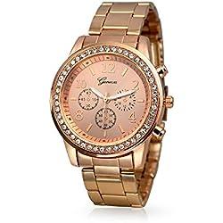 Reloj Geneva Redondo Clásico para Mujeres Chapado en Oro Rosa