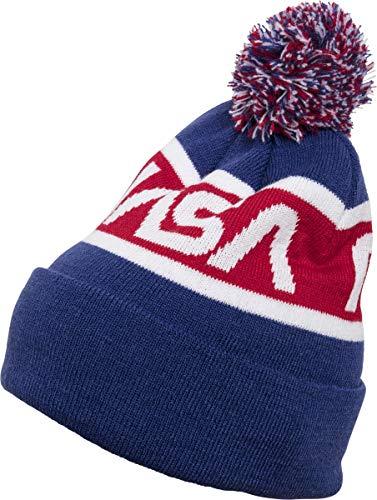 Mister Tee NASA Beanie Knitted Wintermütze, Blue/Red/Wht, one Size