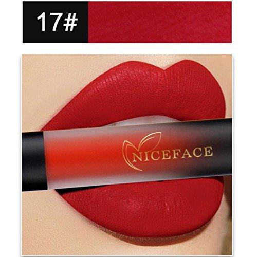 ESAILQ Neue 18 Farben Lippenwäsche Matt langlebiger und wasserdichter flüssiger Lippenstift wasserdichtes Lippenglanz Make up (Q)