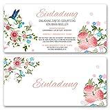 (20 x) Einladungskarten Geburtstag Blumen Geburtstagseinladungen Karte Einladungen