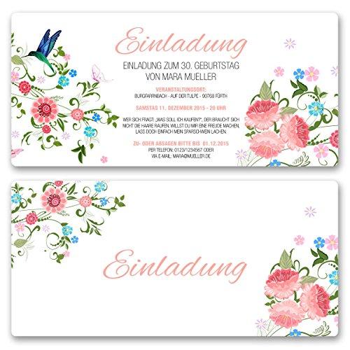 Einladungskarten Geburtstag (20 Stück) Blumen Geburtstagseinladungen Karte Einladungen gestalten | Inkl. Druck Ihrer persönlichen Texte