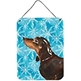 "Caroline's Treasures Black And Tan Dachshund Winter Metal Print, 16"" X 12"", Multicolor"