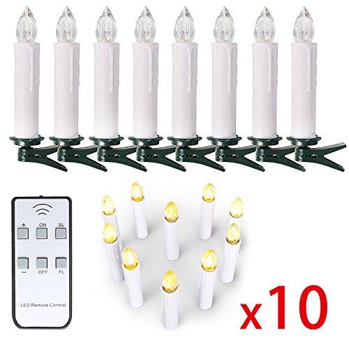 10/ 20/ 30/ 40 er Weinachten LED Kerzen Lichterkette Kerzen Weihnachtskerzen weihnachtsbaum kerzen mit Fernbedienung Kabellos (Weiss, 10er)