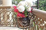 #9: Set of 3: NAYAB   Black Iron Art Hanging Baskets Flower Pot Holder Plant Stand Without pots / Metal Iron Wall Planter Indoor/Outdoor for Railing Fence Balcony Garden Home Decoration
