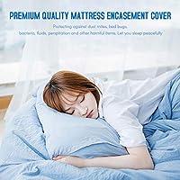 غطاء مرتبة واق لمرتبة مرتبة من مينستياي لا يسبب الحساسية ومسامية غطاء مرتبة السرير Queen MHLMAINSTAYAEH24813GY-QCTSA