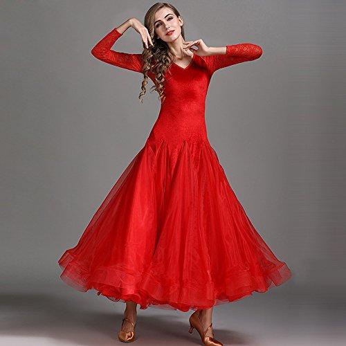 Xueyanwei Modern Frau Großen Pendel Velvet Modern Dance Dress Tango Und Walzer Tanz Kleid Tanzwettbewerb Rock Langarm Lace Dancing - Red Velvet Kleid Kostüm