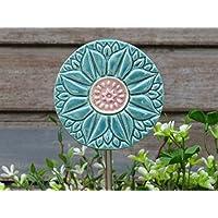 Keramik Pflanzenstecker Beetstecker Gartenstecker Blau Rosa
