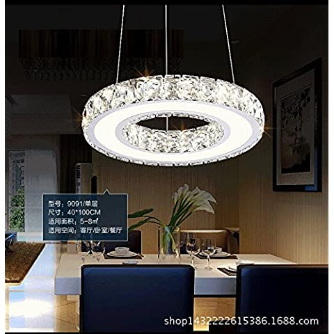 XHYYGZS Lampadari di cristallo tondo in acciaio inox a LED Living toroidale sala ristorante è moderno e minimalista Hotel Camere , fare clic su indicatori di lampadari di ingegneria 35cm 22W, luce bianca