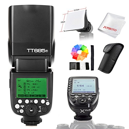 Godox TT685F TTL 2.4G HSS 1 / 8000er Blitzlicht Speedlite Set mit Xpro-F TTL Funkblitz Trigger Sender für Fujifilm Kameras mit JYPHOTO Tuch Beam Diffusor