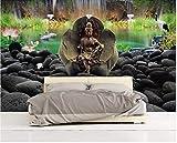 BHXINGMU Wandbild Individuelle Fototapete Zen-Lotusteich Buddha-Statue Kunsttapete Große Schlafzimmerwanddekoration 150Cm(H)×200Cm(W)