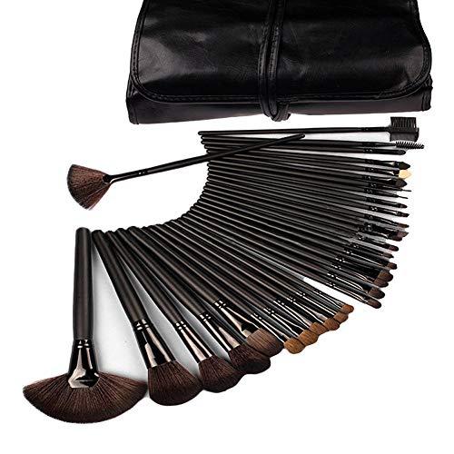 Lychee Beauté 32 Pinceaux de Maquillages Pro pour femme kit d'Accessoires Cosmétiques avec trousse gratuite (Noir)