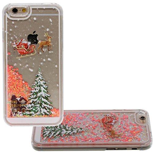 """iPhone 6S Plus Hülle Case, Schön Fließend Sterne - Weihnachten Santa Malerei - Hoch Klar Transparent Hart PC Flüssigkeit Wasser Stil Schutzhülle Stoßfest für Apple iPhone 6 Plus 6S Plus 5.5"""" Orange"""