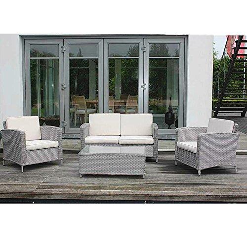 Loungegarnitur Gartenmöbel-Set Aluminiumgestell Polyrattangeflecht Lounge-Gruppe