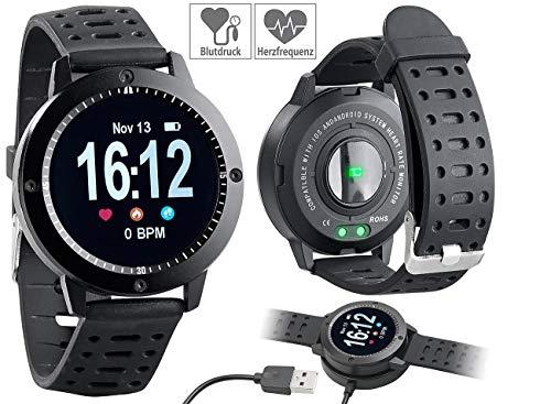 Newgen Medicals Pulsuhr ohne Brustgurt: Fitness-Uhr, Touch-Farbdisplay, Blutdruck- & Herzfrequenzanzeige, IP67 (Smartwatches)