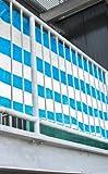Balkon Sichtschutz Balkonverkleidung 5m lang 0,90m hoch - blau/ weiß