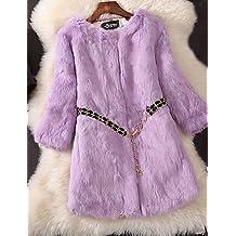 XUANKU salir de la mujer Casual/diario Simple Calle Chic invierno abrigo de piel, sólido soporte piel sintética de manga larga largo piel de cordero de piel de mapache, morado, talla única