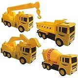 HALO NATION® Unbreakable Friction Truck Set - Pull Back Trucks Set Of 4 (Construction Trucks - Dumper , Mixer, Crain, JCB)