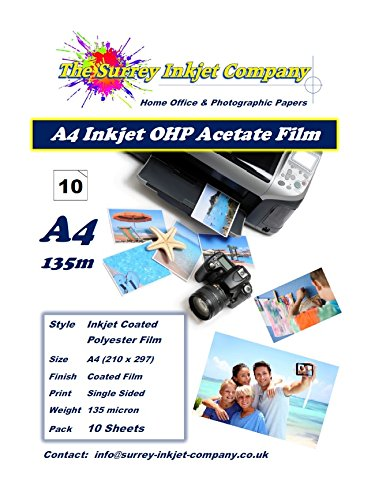 10 x A4 OHP Inkjet Transparency Film Sheets 135 micron Instant Dry Test