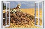 Gepard auf Hügel Afrika Savanne Wandtattoo Wandsticker Wandaufkleber F0290 Größe 60 cm x 90 cm