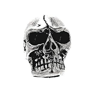 Kiss of Leather zierliche Bartperle Haarperle Totenkopf aus Edelstahl 4mm Innendurchmesser