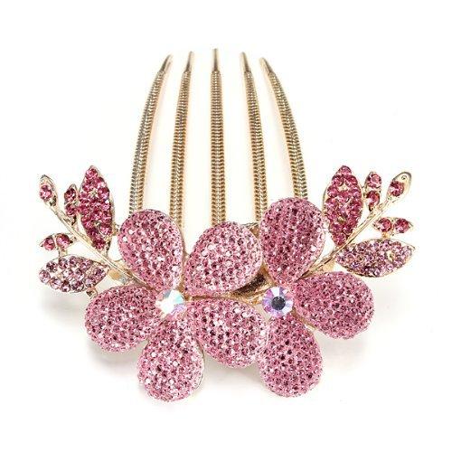 Five Season 1 pcs Charm Fashion Lady Fille Fleur Pattern Alliage Strass Barrette Pince à Cheveux Peigne -- Rose