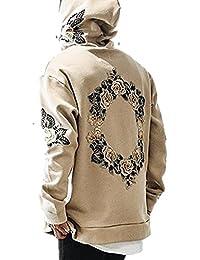 Outgobuy Männer Hip Hop Kreis Blumenstickerei Hoodies Unisex Fleece Sweatshirts Pullover
