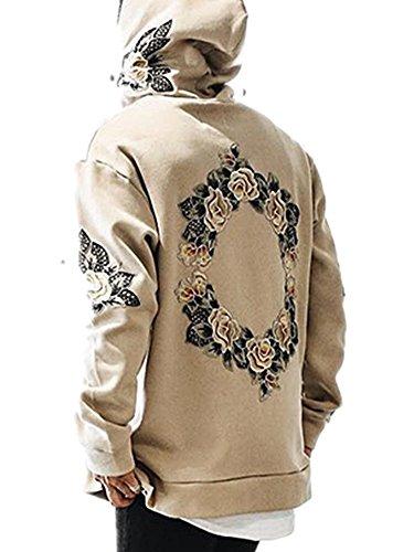 Outgobuy Männer Hip Hop Kreis Blumenstickerei Hoodies Unisex Fleece Sweatshirts Pullover (L, Khaki) (Hop Hip Hoodies)