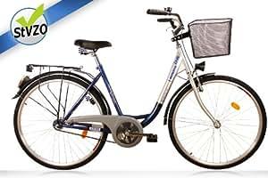 """Vélo de ville monovitesse pour femme 28"""" avec phare dynamo et système de frein à rétropédalage (Bleu/argent)"""
