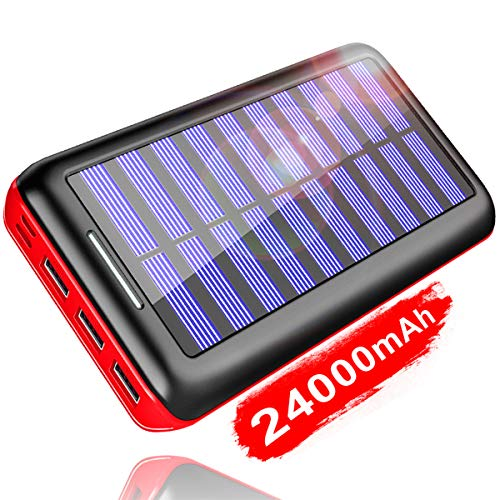 KEDRON Externer Akku 24000mAh Solar Powerbank, Solar Ladegerät mit 3 Ausgänge und Lighting & Micro Dual Input Power Bank Handy für iPhone, iPad, Samsung Galaxy und andere Smartphones