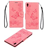 Xperia XA 1 Case, COOSTOREEU Butterfly Pattern PU Leather Wallet Stand Flip Case Cover for Sony Xperia XA 1 , Pink
