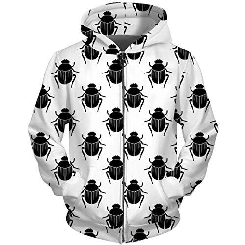 Zipper Hoodies Schwarz Weiß Männer 3D Print Käfer Sweatshirt Lustige Insekten Trainingsanzüge mit Kapuze Herren Kleidung S