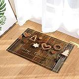 gohebe Christmas Bath Teppiche Einer Vielzahl von Lebkuchen Holz Hintergrund Rutschfeste Fußmatte Boden Eingänge Innen vorne Fußmatte Kinder Badematte 39,9x59,9cm Badezimmer Zubehör