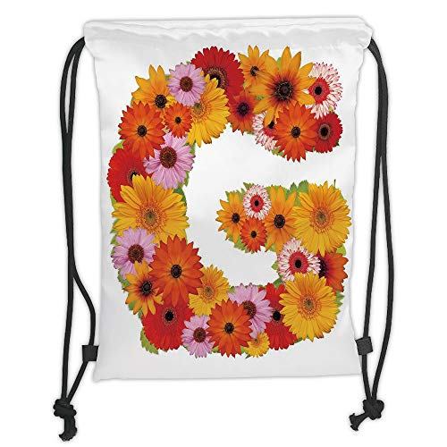 LULUZXOA Gym Bag Printed Drawstring Sack Backpacks Bags,Letter G,Composition with Fresh Garden Flowers Lively Summer Time Inspired Floral Font Decorative,Ring