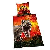 Herding Jurassic World Bettwäsche-Set, Wendemotiv, Bettbezug 135 x 200 cm, Kopfkissenbezug 80 x 80 cm, Baumwolle/Renforcé