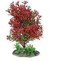 Planta artificial DealMux acuario de plástico bajo el agua Hierba verde del ornamento rojo