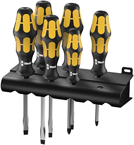 Preisvergleich Produktbild Wera Schraubendrehersatz 932 S/6 Kraftform Plus: Der Schraubmeißel + Rack, 6-teilig, 05018283001