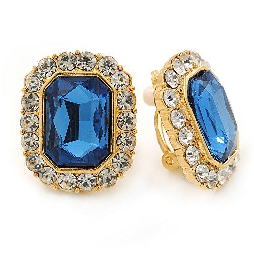 Goldfarbene viereckige Ohrclips mit transparenten und blauen Kristallen