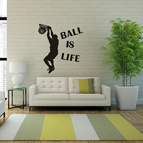wandaufkleber wandtattoos Ronamick Ball Is Life Sport Basketball Wand Aufkleber Mural Decor Decal Removable spielen Wandtattoo Wandaufkleber Sticker Wanddeko (Schwarz) (Kinder-basketball-schlafzimmer-sets)