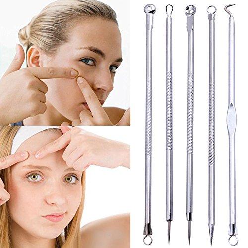Gemini _ Mall® 5 x points noirs Blemish acné Comedone à picots Remover Extracteur Outil Ensemble kit