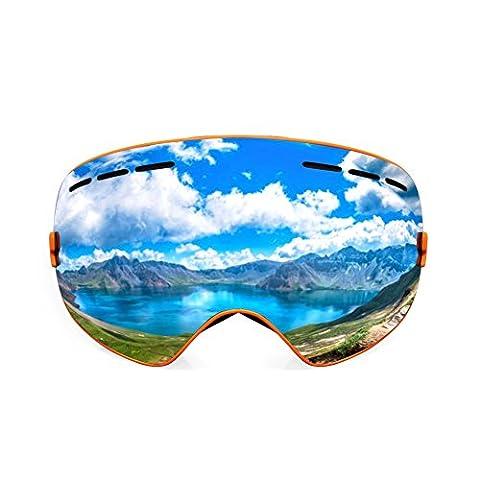 LifeArt rahmenlose Goggle für Ski/Schneemobil, UV400Doppel Anti-Fog Oversize Spherical Lens, Sicherheit/Komfort/Fashion Garantie für Damen/Herren/Jugend, Defog Tuch ist Gratis, schwarz