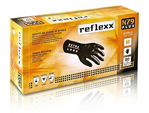 REFLEXX n79p/M Extra Lang, 30cm, puderfrei Nitril Handschuhe gr7.7, Gr. Medium, Schwarz (50Stück)