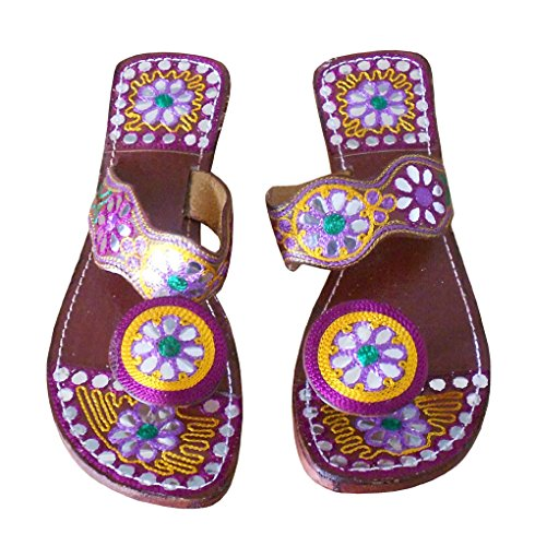 kalra Creations Étui à rabat en cuir traditionnel Indien de femmes Tongs Multicolore