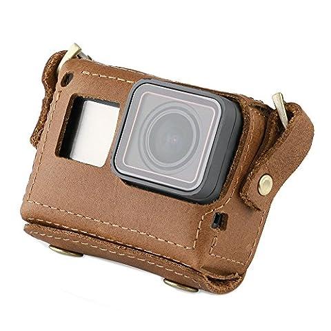 Telesin faite à la main en cuir étui pour caméra GoPro Hero 5Noir sacoche de protection Sangle de cou Ceinture avec capuchon d'objectif